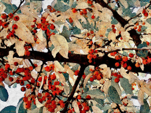 Digital Art - Fall Berries by Susan Kinney