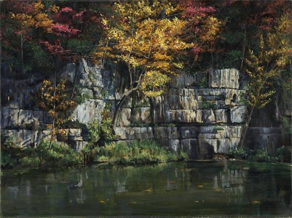 Bluffs Painting - Fall Bluffs - Ozark Nat'l Scenic Rivers by Don  Langeneckert