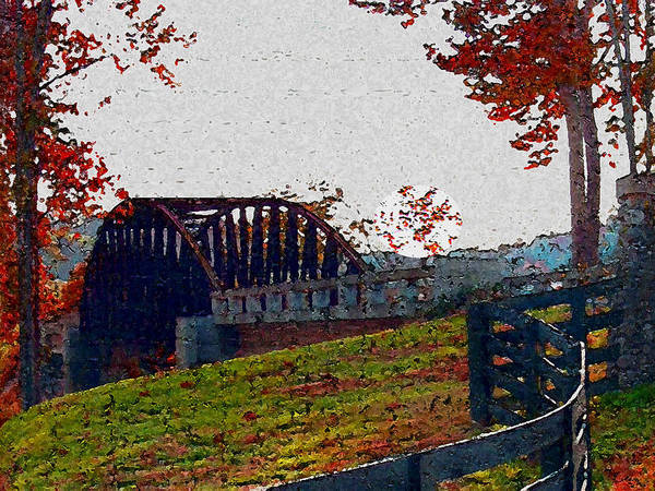 Mixed Media - Fall Bridge by Dennis Buckman