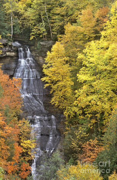 Photograph - Fall Color Surrounds Chapel Falls On The Michigan Upper Peninsula by Dave Welling