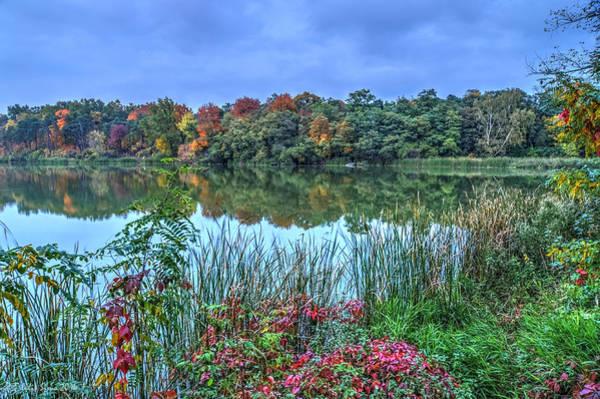 Fall Colors At Blue Hour Near Zegrze Art Print