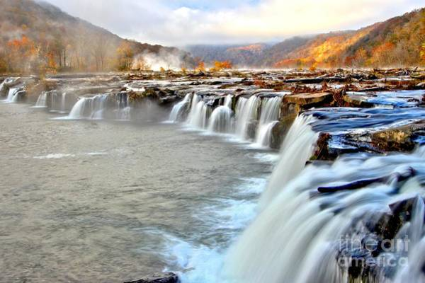 Photograph - Fall Colors Over Sandstone Falls by Adam Jewell