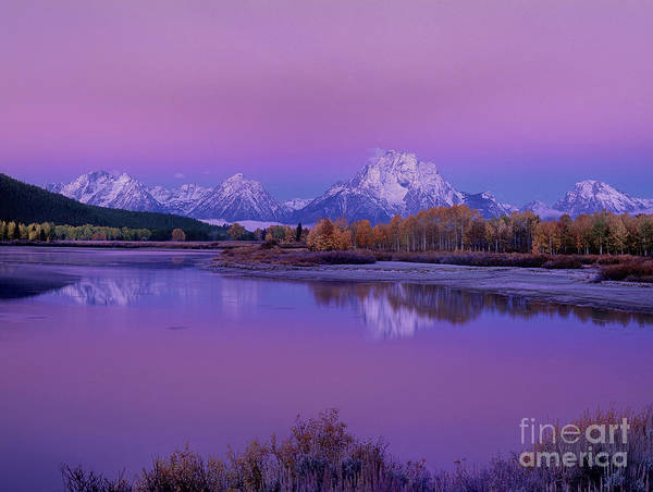 Photograph - Fall Dawn Oxbow Bend Grand Tetons National Park Wyoming by Dave Welling