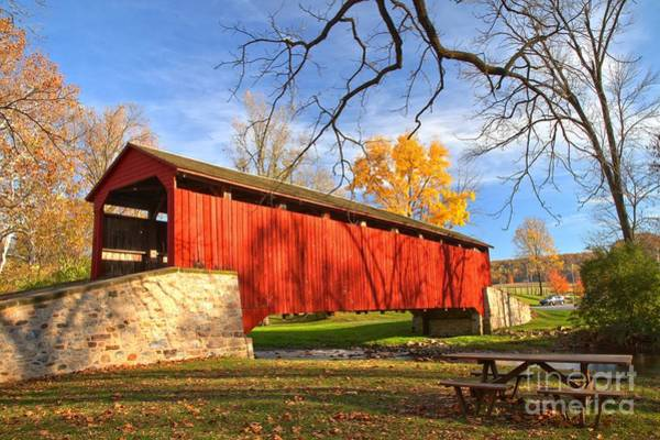 Photograph - Fall Foliage At The Poole Forge Covered Bridge by Adam Jewell