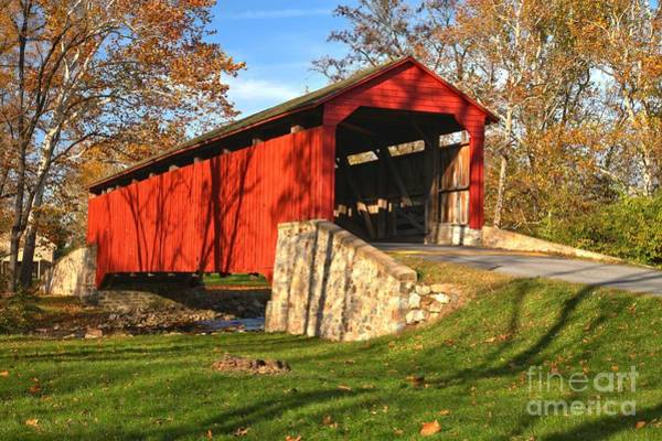 Photograph - Fall Foliage Poole Forge Covered Bridge by Adam Jewell