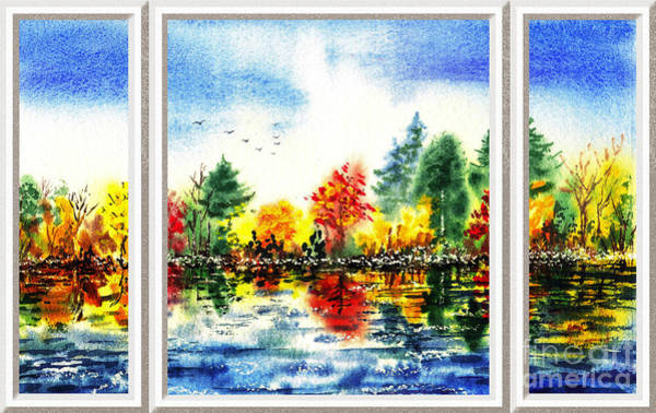 Window Frame Painting - Fall Forest Window View by Irina Sztukowski