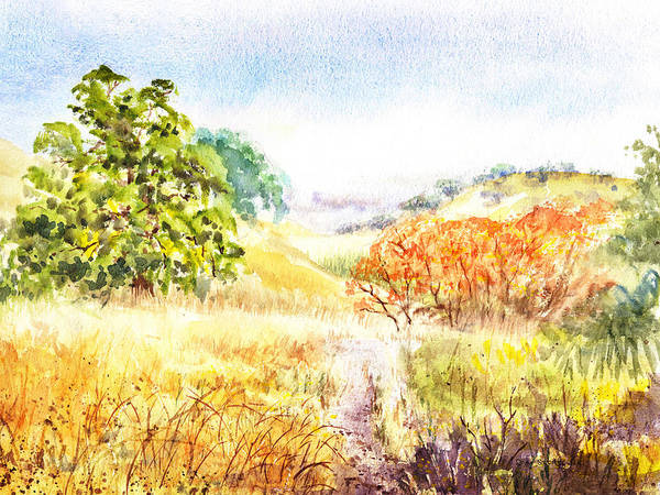 Country Living Painting - Fall Landscape Briones Park California by Irina Sztukowski