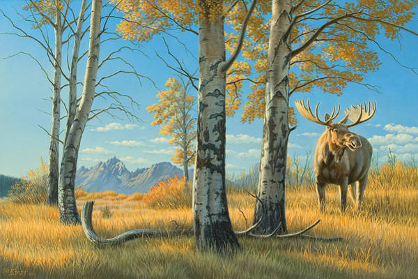 Grand Teton Wall Art - Painting - Fall Landscape - Moose by Paul Krapf