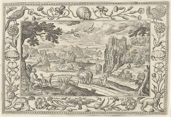 Fall Flowers Drawing - Fall Of Icarus, Adriaen Collaert by Adriaen Collaert And Claes Jansz. Visscher (ii) And Eduwart Van Hoeswinckel