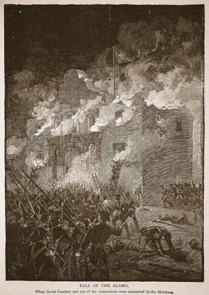 Soldier Drawing - Fall Of The Alamo, From A Book Pub. 1896 by Alfred R. Waud