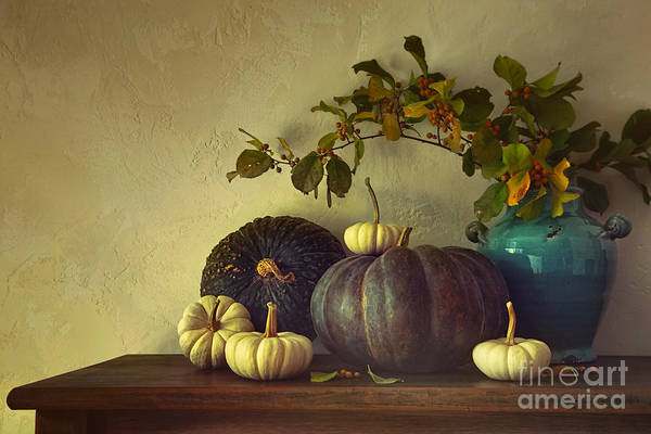 Photograph - Fall Pumpkins And Gourds On Table by Sandra Cunningham
