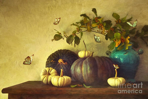 Photograph - Fall Pumpkins And Gourds/ Digital Painting by Sandra Cunningham