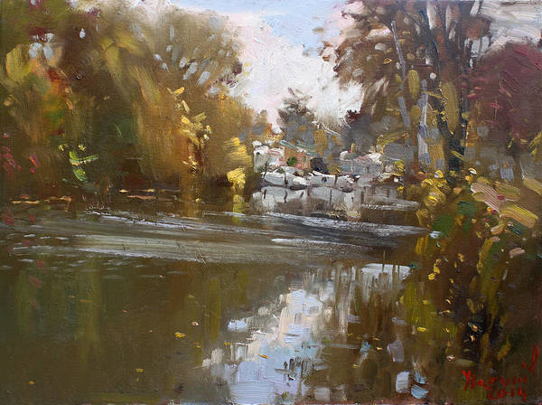 Tonawanda Wall Art - Painting - Fall Reflections At North Tonawanda Canal by Ylli Haruni