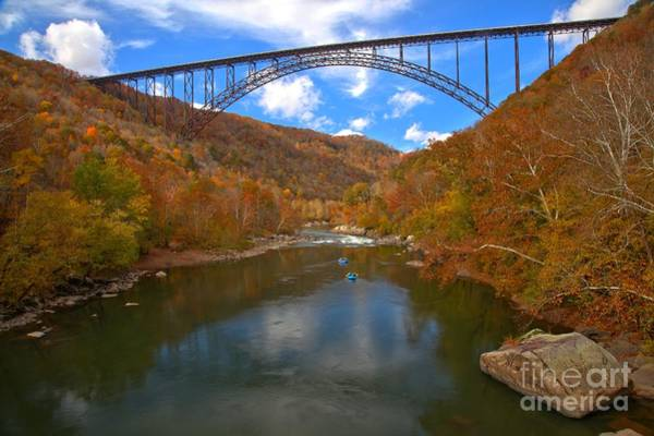 Photograph - Fall Reflections Under The New River Bridge by Adam Jewell