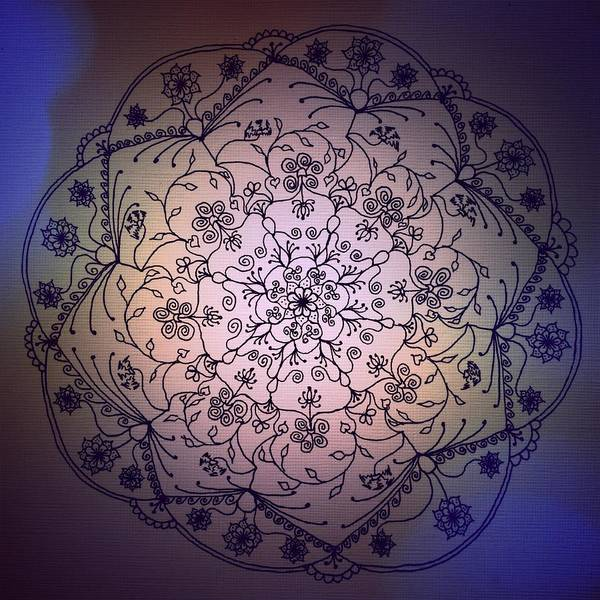 Sacred Geometry Drawing - Fall Sky by Heather Bach