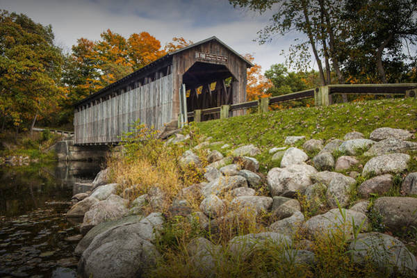 Photograph - Fallasburg Covered Bridge On The Flat River by Randall Nyhof