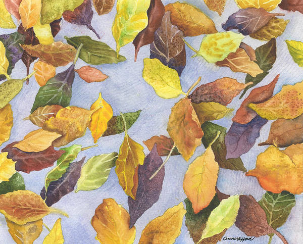 Fall Wall Art - Painting - Fallen Leaves by Anne Gifford