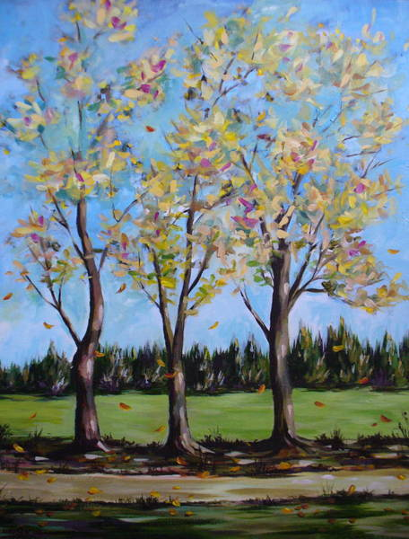 Painting - Falling Leaves by Outre Art  Natalie Eisen