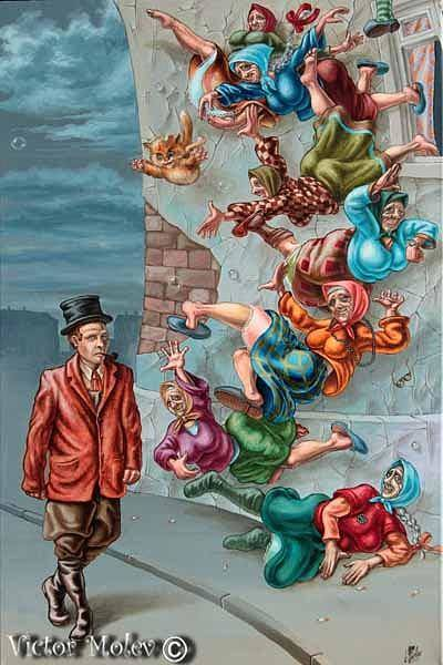 Painting - Falling Old Ladies by Victor Molev