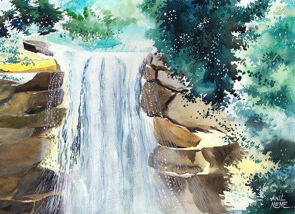 Painting - Falling Waters by Anil Nene