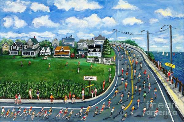 Balance Painting - Falmouth Road Race Running Falmouth by Rita Brown