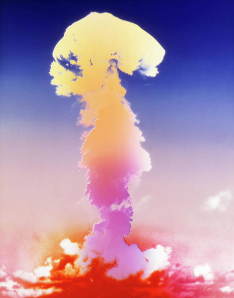 Crossroads Photograph - False-colour Image Of An Atomic Bomb Explosion by Us National Archives/science Photo Library