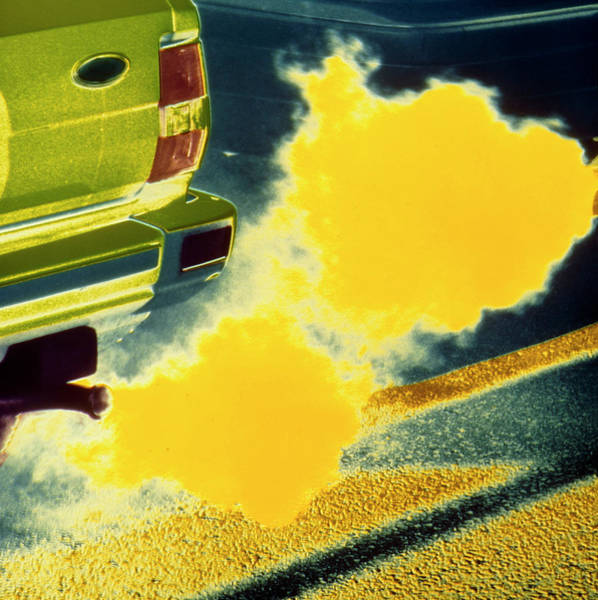 Exhaust Wall Art - Photograph - False-colour Photo Of Car Exhaust Fumes by Dr Jeremy Burgess/science Photo Library