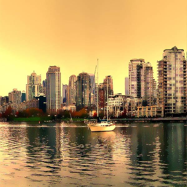Vancouver Skyline Digital Art - False Creek Vancouver Glow by Patricia Keith