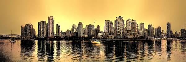 Vancouver Skyline Digital Art - False Creek Vancouver Canada Inksketch Panorama by Patricia Keith