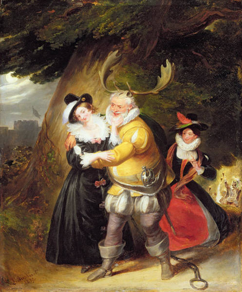 Wall Art - Photograph - Falstaff At Hernes Oak From The Merry Wives Of Windsor, Act V, Scene V, 1832 Oil On Panel by James Stephanoff