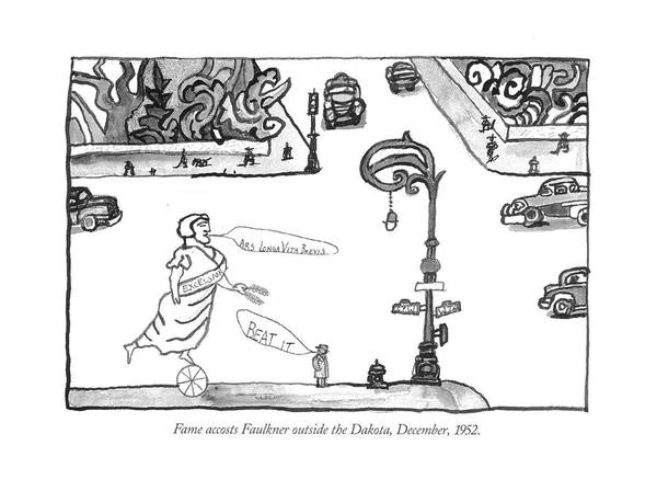 Drawing - Fame Accosts Faulkner Outside The Dakota by Saul Steinberg