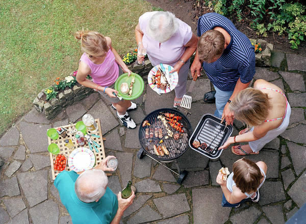 Barbecue Photograph - Family Around A Barbecue by Martin Riedl/science Photo Library