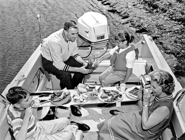 Powerboat Photograph - Family Boating Lunch by Underwood Archives