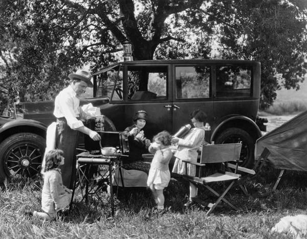 Pierce-arrow Wall Art - Photograph - Family Camping by Underwood Archives