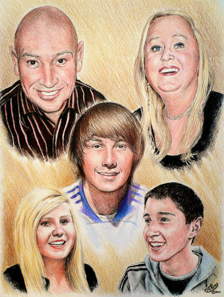 Colored Pencil Drawings Painting - Family Collage Commissions by Andrew Read