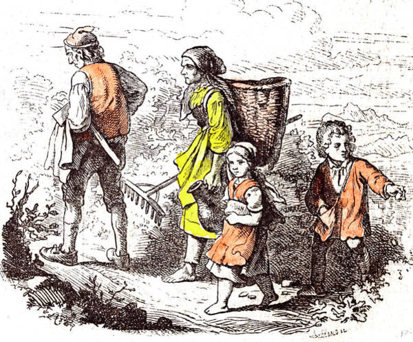 Homestead Drawing - Family Coming Back From The Field 1855 Woman Man Mother by English School