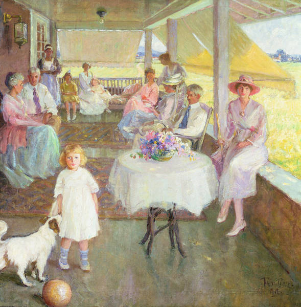 Porch Painting - Family Gathering, 1919 by Pauline Palmer