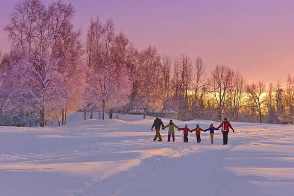 Christmas Photograph - Family Group, Holding Hands, Walk by Kevin Smith