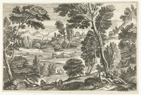 Herd Drawing - Family In Landscape, Print Maker Nicolas Gurard by Nicolas Gu?rard And Adriaen Van Der Kabel And N. Robert