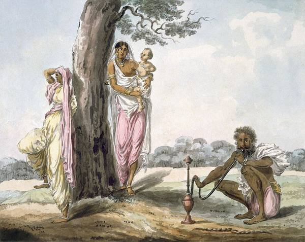 Indian Drawing - Family Man Smoking A Hookah And Girl by Indian School