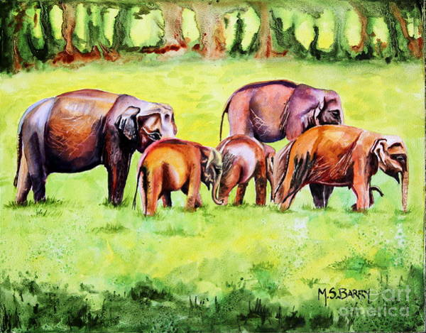 Wall Art - Painting - Family Of Elephants by Maria Barry
