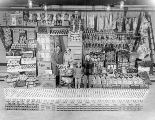 Foodstuff Photograph - Family Of Four's Yearly Food Supply by Hagley Museum And Archive