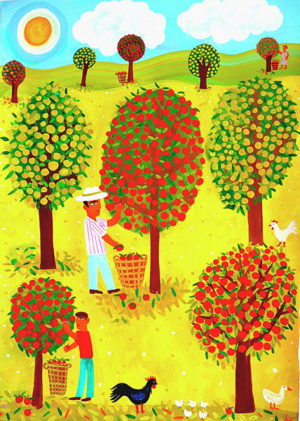 Orchard Digital Art - Family Picking Apples In Orchard by Christopher Corr