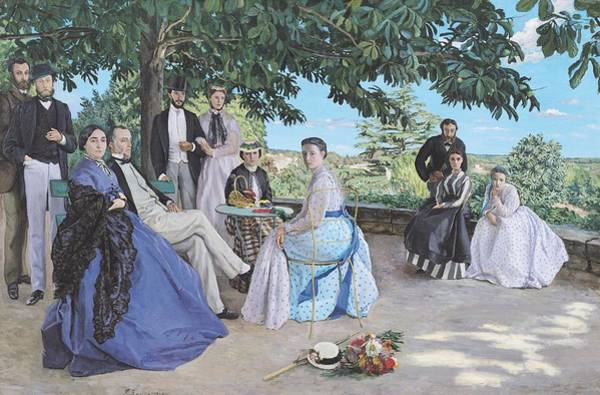 Impressionist Photograph - Family Reunion, 1867 Oil On Canvas by Jean Frederic Bazille