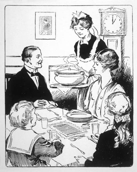 Wall Art - Drawing - Family Sits Round The Table  While by  Illustrated London News Ltd/Mar