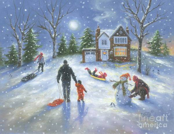 Wall Art - Painting - Family Snow Play by Vickie Wade