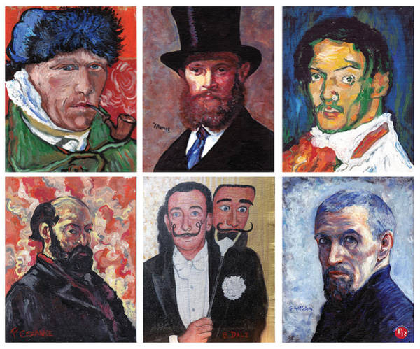 Painting - Famous Artist Self Portraits by Tom Roderick