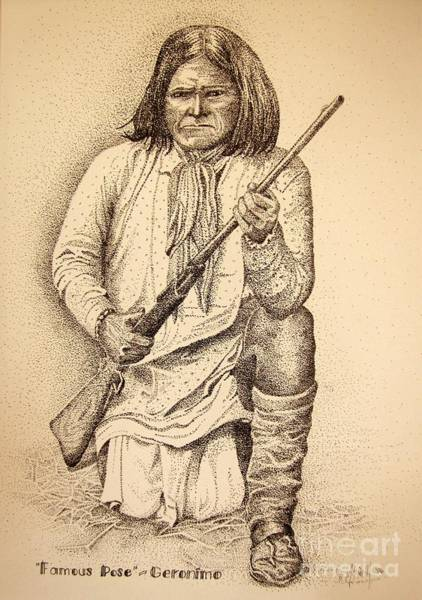 Drawing - Famous Pose - Geronimo by Marilyn Smith