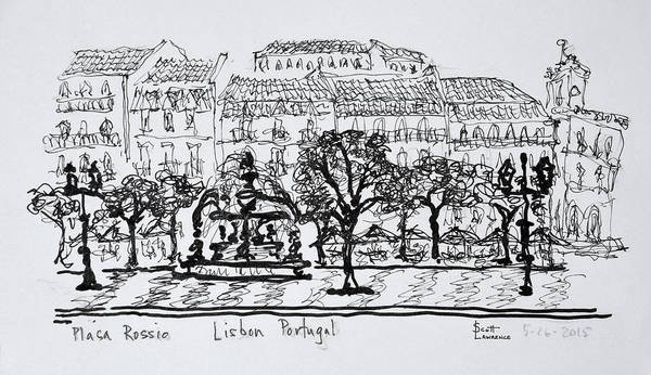 Ink Sketch Photograph - Famous Town Square Placa Rossio by Richard Lawrence