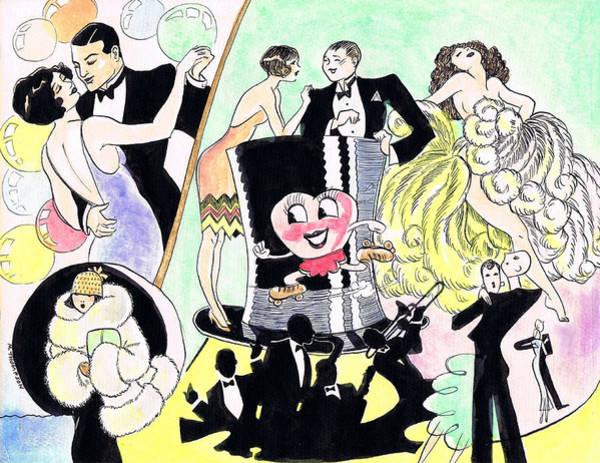Flappers Drawing - Fan Dancer by Mel Thompson